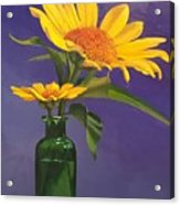 Sunflowers In A Green Bottle Acrylic Print