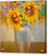 Sunflowers In A Silver Vase Acrylic Print