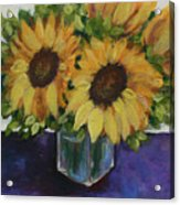 Sunflowers In A Square Vase Acrylic Print