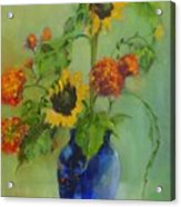 Sunflowers In Blue          Copyrighted Acrylic Print