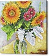Sunflowers In Glass Vase Acrylic Print