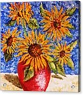 Sunflowers In Red Vase. Acrylic Print