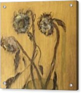 Sunflowers On Gold Acrylic Print