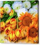 Sunflowers Tulips Acrylic Print
