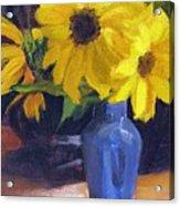 Sunflowers with Blue Vase Acrylic Print