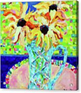 Sunflowers With Trellis Collage Acrylic Print