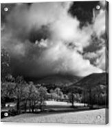 Sunlight Clouds And Snow In Black And White Acrylic Print