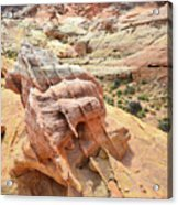 Sunlight On Colorful Boulder Above Wash 3 In Valley Of Fire Acrylic Print
