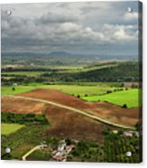 Sunlit Farms And Fields Below Arcos De La Frontera Andalusia Spa Acrylic Print