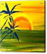 Sunny Blue Palms Acrylic Print