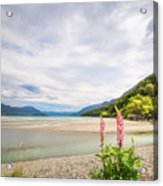 Sunny Day At Kinloch Wharf In New Zealand Acrylic Print
