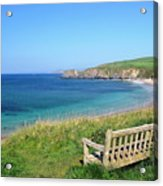 Sunny Day At Thurlestone Beach Acrylic Print by Photo by Andrew Boxall