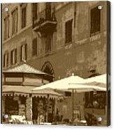 Sunny Italian Cafe - Sepia Acrylic Print by Carol Groenen