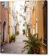 Sunny Street In Villefranche-sur-mer Acrylic Print