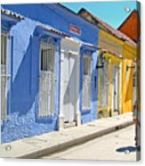 Sunny Street With Colored Houses - Cartagena-colombia Acrylic Print