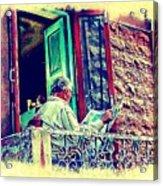 Sunny Sunday Morning Newspaper Vintage India Rajasthan Udaipur 2b Acrylic Print