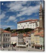 Sunny Tartini Square In Piran Slovenia With Government Building, Acrylic Print