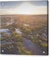 Sunraise Morning Summer Time Lake And Green Forest, In Poland  Acrylic Print