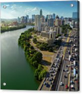 Sunrays Paint The Austin Skyline As Rush Hour Traffic Picks Up On I-35 Acrylic Print