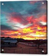 Sunrise And Horse Barn Acrylic Print