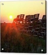 Sunrise And The Lifeguard Chairs  Acrylic Print