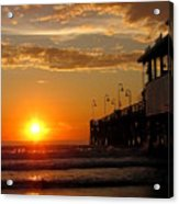 Sunrise At Daytona Beach Pier  004 Acrylic Print