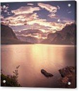 Sunrise At Lake Minnewanka Acrylic Print