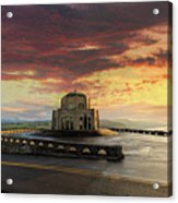 Sunrise At Vista House On Crown Point Acrylic Print