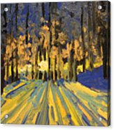 Sunrise Forest Modern Impressionist Landscape Painting  Acrylic Print