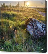 Sunrise In Field. Stone In Front Acrylic Print