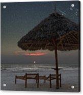Sunrise In Tropical Beach Of Zanzibar With Starry Sky Acrylic Print