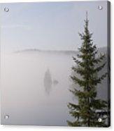 Sunrise Mist Lingers On The Lake Acrylic Print