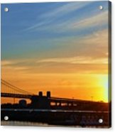 Sunrise On Ben Franklin Bridge Acrylic Print