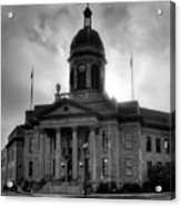 Sunrise On Cherokee County Courthouse In Black And White Acrylic Print