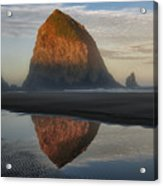 Sunrise On Haystack Rock - Oregon Acrylic Print by Sandra Bronstein