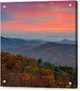 Sunrise Over Blue Ridge Parkway. Acrylic Print
