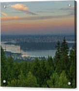 Sunrise Over City Of Vancouver Bc Canada Acrylic Print