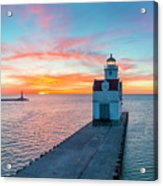 Sunrise Over Lake Michigan Scenic Harbor, Lighthouse With Seagulls. Acrylic Print
