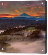 Sunrise Over Mount Hood And Sandy River Valley Acrylic Print