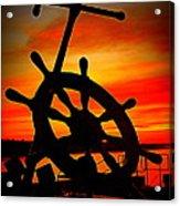 Sunrise Over The Captain's Wheel 2 Acrylic Print