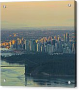 Sunrise Over Vancouver Bc And Stanley Park Panorama Acrylic Print