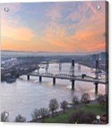 Sunrise Over Willamette River By Portland Acrylic Print