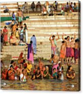 Sunrise Praying In River Ganges Acrylic Print
