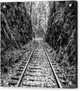 Sunrise Rails Black And White Vertical Panorama Acrylic Print