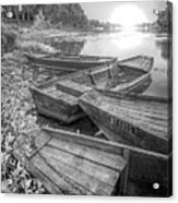 Sunrise Rowboats  In Black And White Acrylic Print