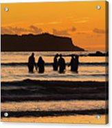 Sunrise Seascape With People Silhouettes Acrylic Print