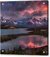 Sunrise Spectacular At Torres Del Paine. Acrylic Print