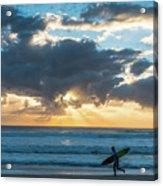 Sunrise Surfer Running Delray Beach Florida Acrylic Print