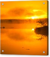 Sunrise Through Lake Mist Acrylic Print