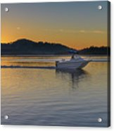 Sunrise Waterscape And Boat On The Bay Acrylic Print